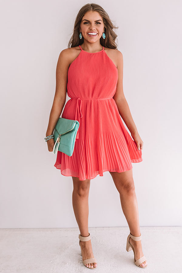 Laughing In London Pleated Dress In Calypso