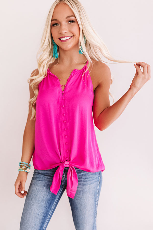 Good Spirits Button Up Tank In Hot Pink