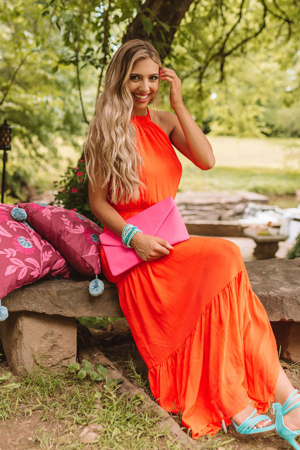 Sunset Swooning Halter Maxi