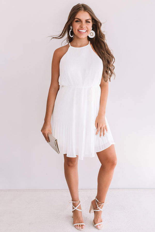 Laughing In London Pleated Dress In White
