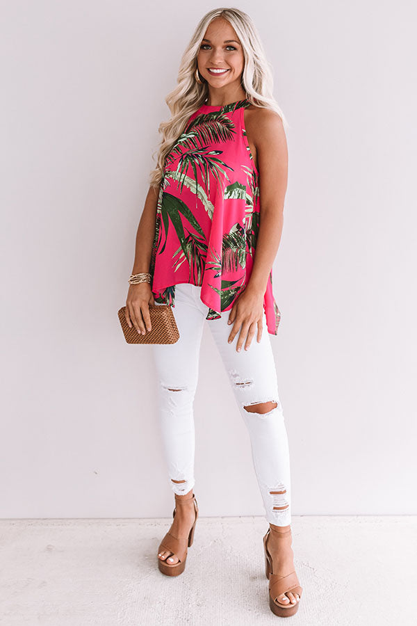 Haute Tropics Floral Shift Top