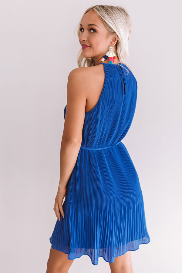 Laughing In London Pleated Dress In Royal Blue