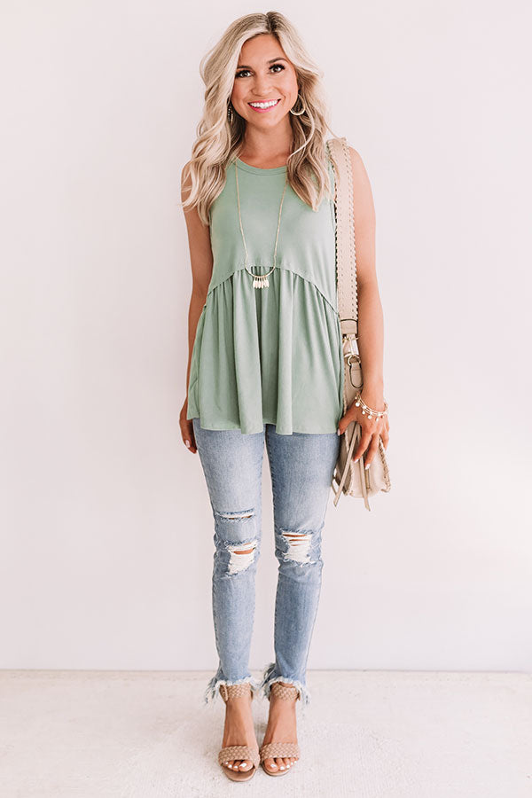 Sugar And Spritzers Babydoll Top In Pear