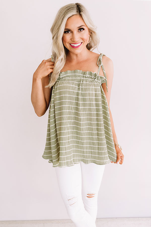 Better With Bellinis Stripe Tank In Pear