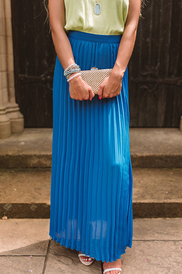 Kisses In Florence Pleated Skirt In Sapphire