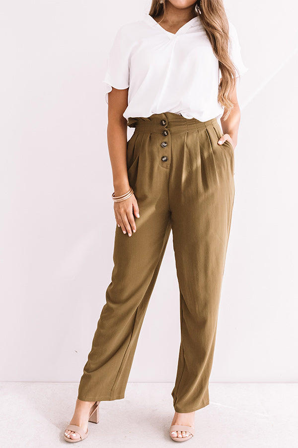 The Fletcher High Waist Trousers In Martini Olive