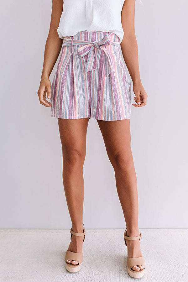Golden Shores High Waist Stripe Shorts In Vineyard Grape