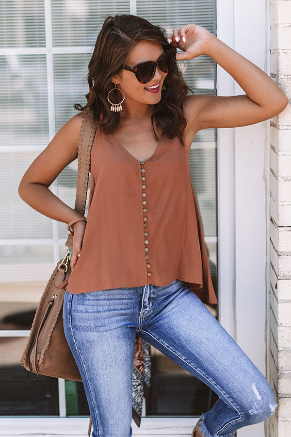 Everyday Perfection Shift Tank In Cinnamon