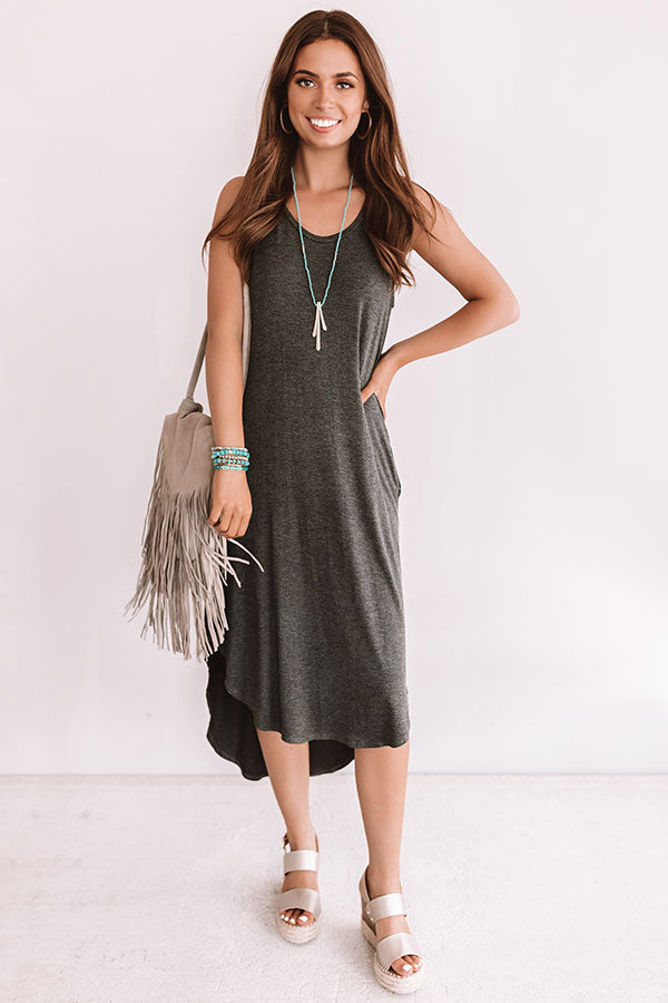 Southern Simplicity Midi In Charcoal