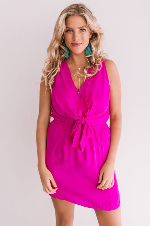 Party On Deck Front Tie Dress In Fuchsia