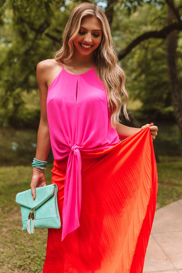 Love And Limoncello Tie Tank In Hot Pink