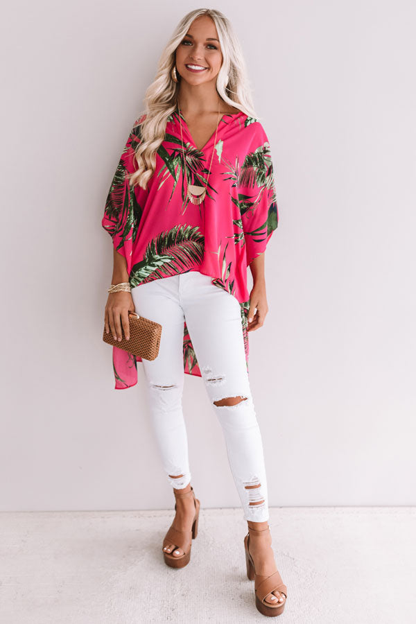 So Striking Floral Shift Tunic In Hot Pink