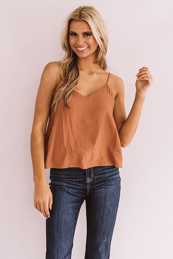 Beauty Guru Shift Tank In Cinnamon