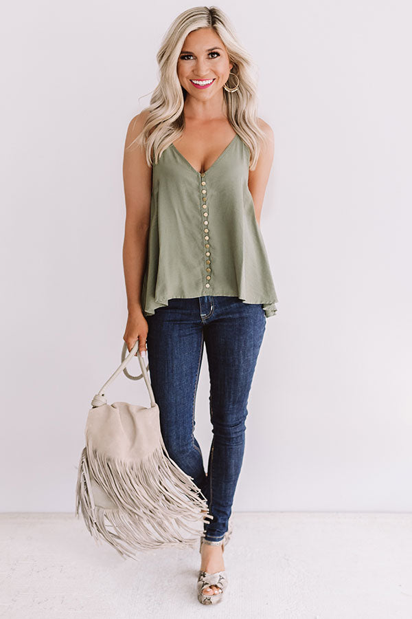 Everyday Perfection Shift Tank In Sage