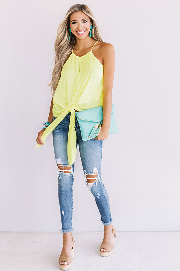 Love And Limoncello Tie Tank In Yellow