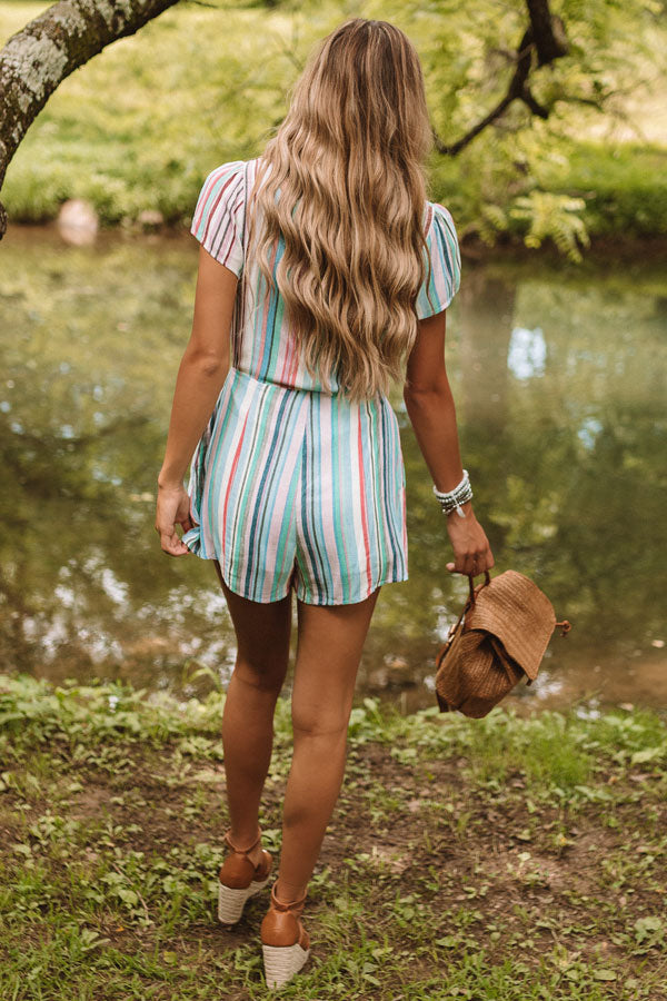 Cute By Design Stripe Romper In Blue