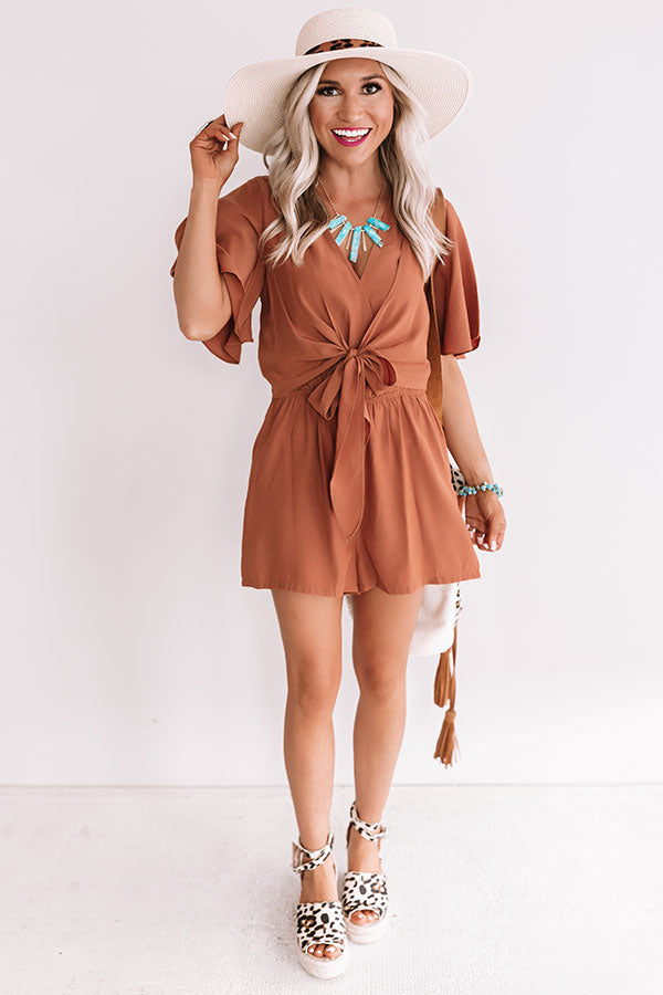 Knot In A Million Years Romper In Camel