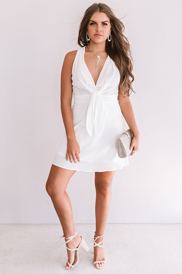 Wine And Wishes Front Tie Dress In White