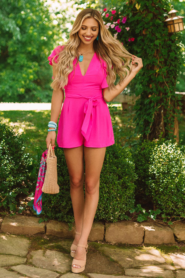 Room Service And Luxury Romper In Hot Pink