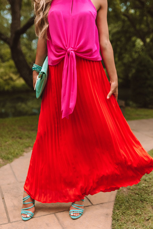 Kisses In Florence Pleated Skirt In Scarlet