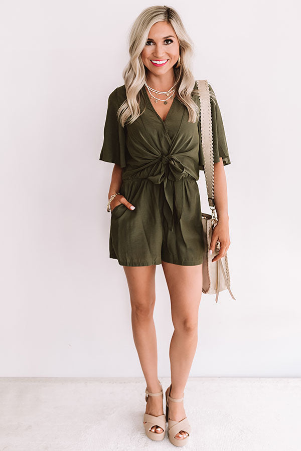 Knot In A Million Years Romper In Army Green