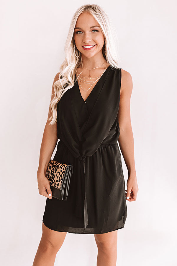 Party On Deck Front Tie Dress In Black