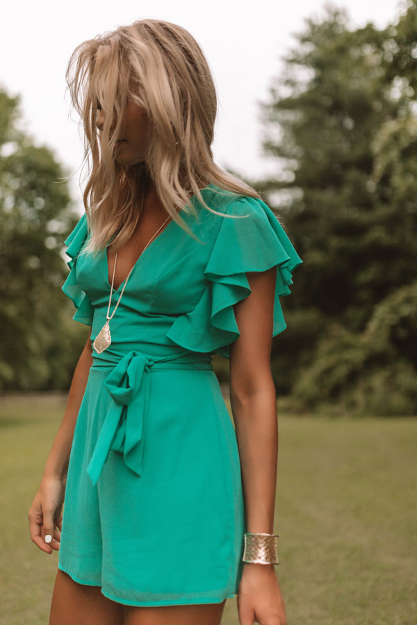 Room Service And Luxury Romper In Emerald