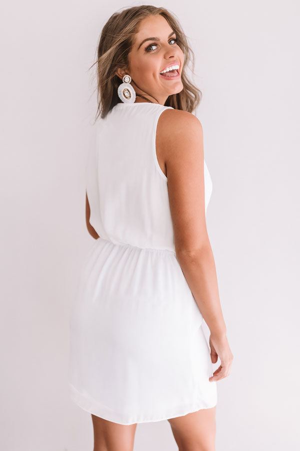 Party On Deck Front Tie Dress In White
