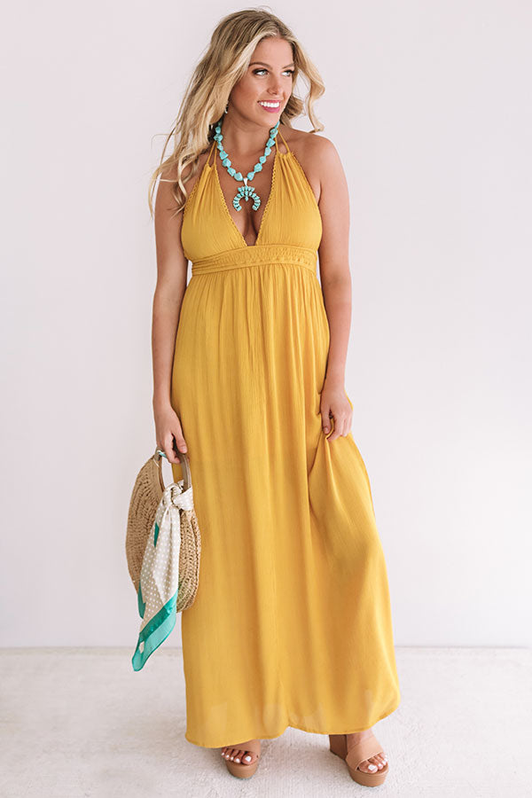 Two Steps And Twirls Halter Maxi In Mustard