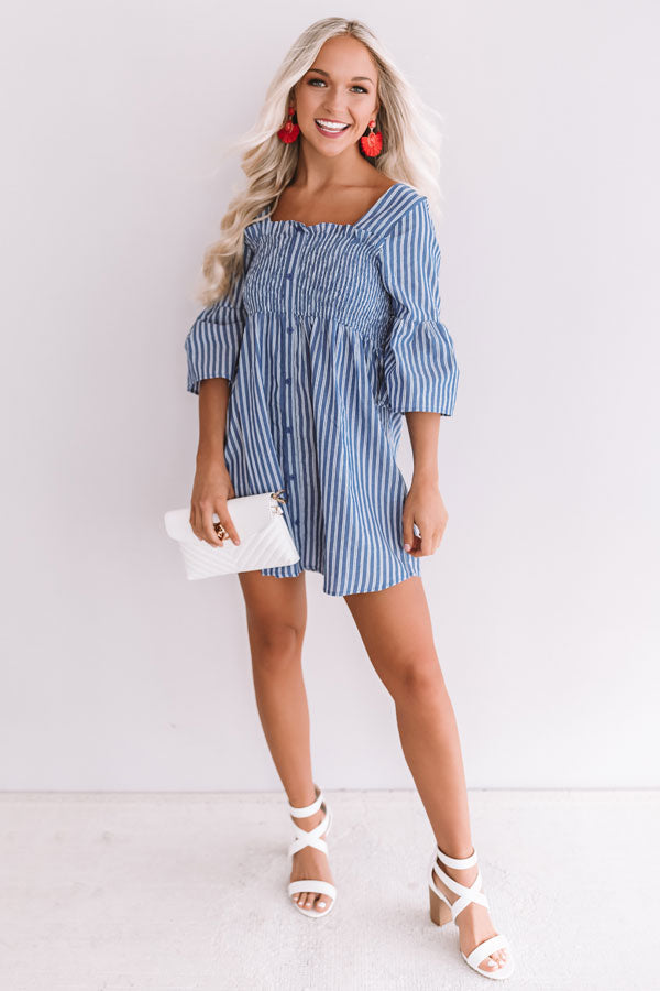 Ready Or Yacht Stripe Smocked Dress