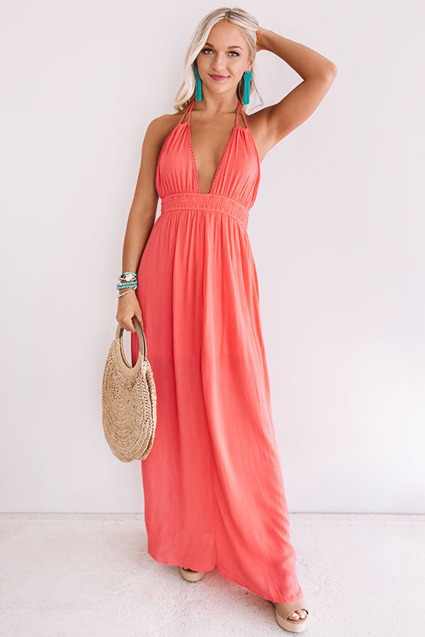 Two Steps And Twirls Halter Maxi In Raspberry