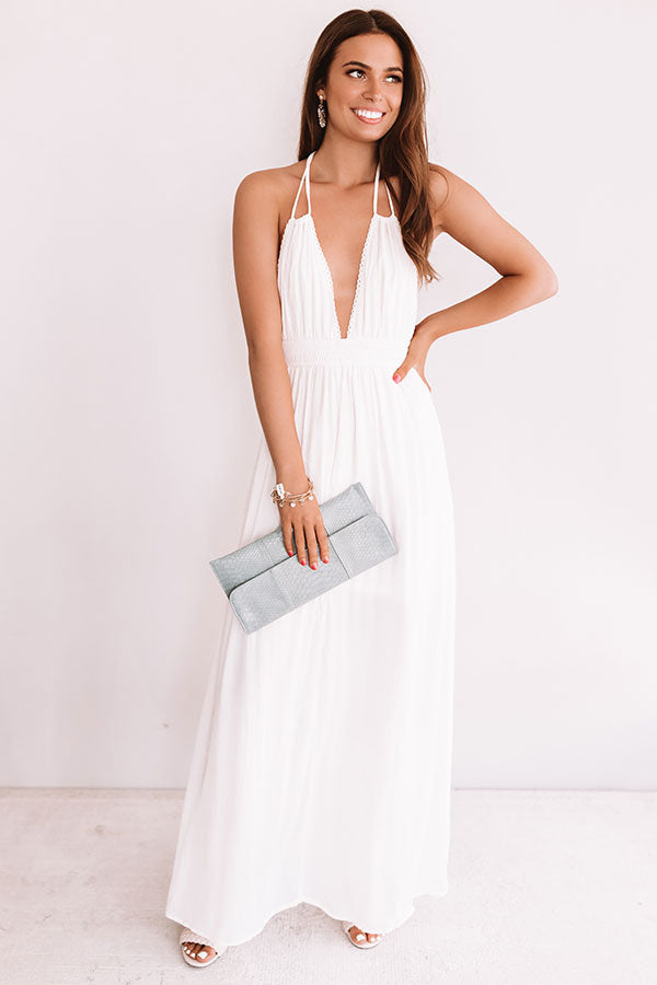 Two Steps And Twirls Halter Maxi In Cream