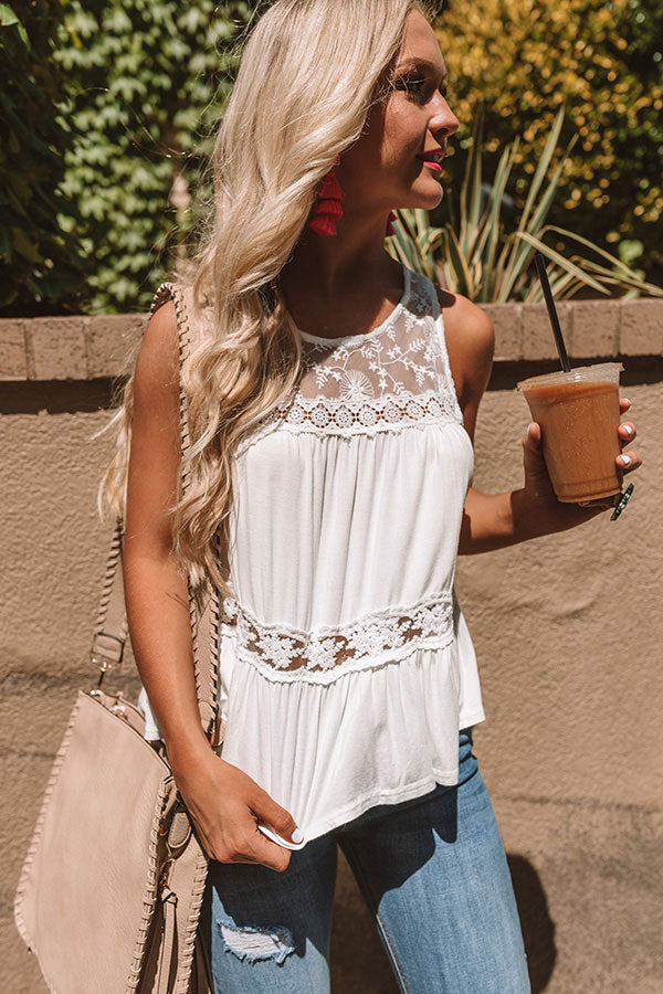 The Best Time Crochet Tank In White