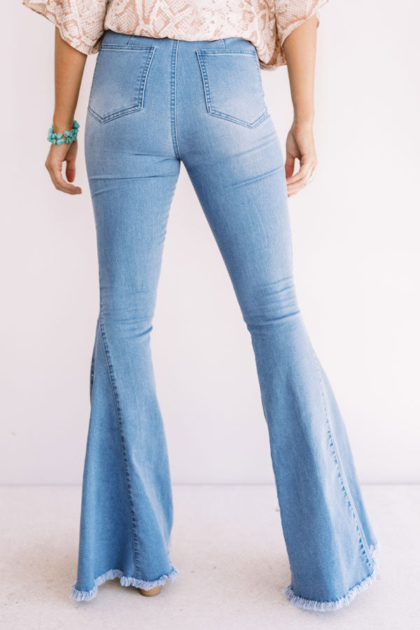 The Blakely High Waist Flares In Light Wash