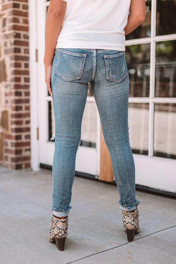 The Kately Midrise Distressed Skinny In Medium Wash