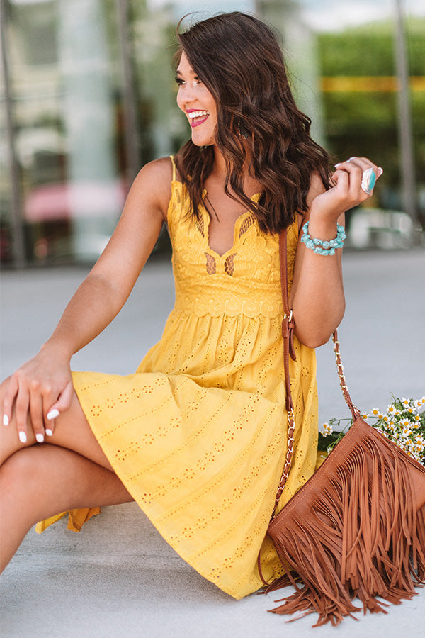 Setting Sail To Santorini Eyelet Dress In Marigold