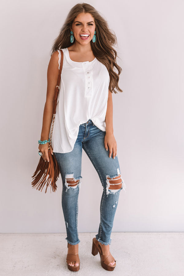 Hey, Sweetheart Shift Tank In White