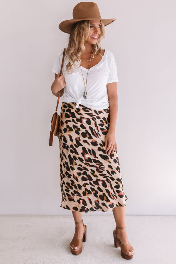 Modern Marvels Leopard Skirt In Iced Latte