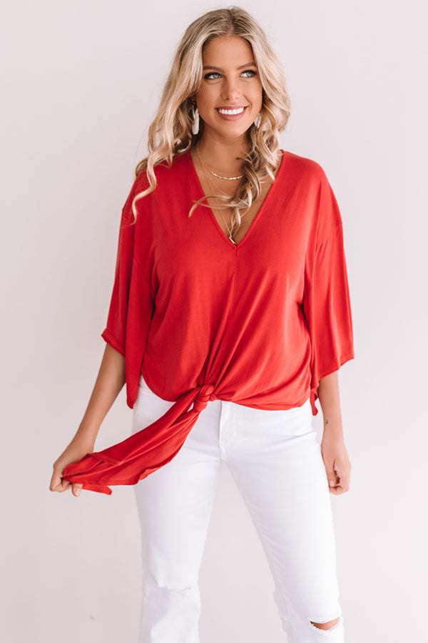 Bare With Me Tie Top In Red