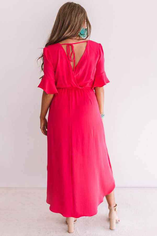 Charming In Cabo Ruffle Maxi In Raspberry