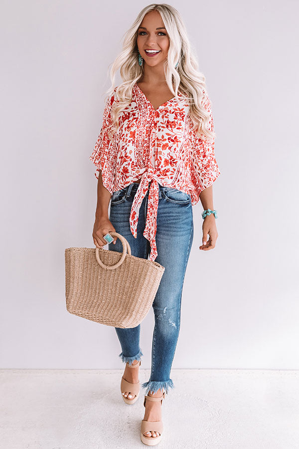 Sangria Season Floral Tie Top In Scarlet