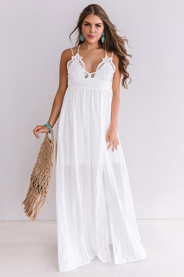 Setting Sail To Santorini Eyelet Maxi In White