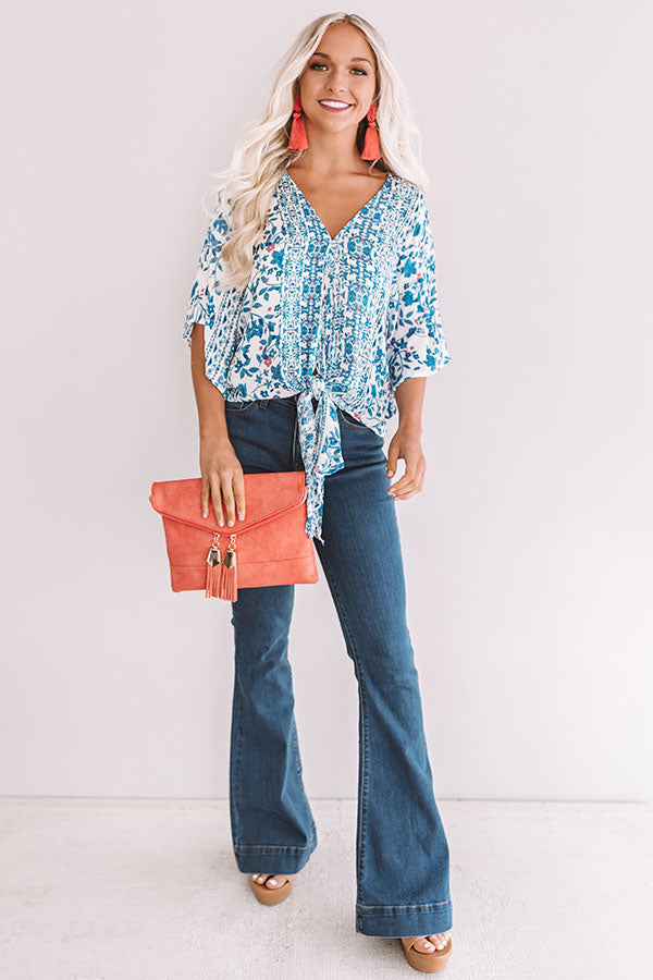 Sangria Season Floral Tie Top In Blue