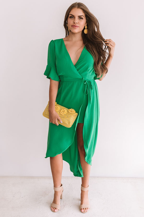 Charming In Cabo Ruffle Maxi In Green
