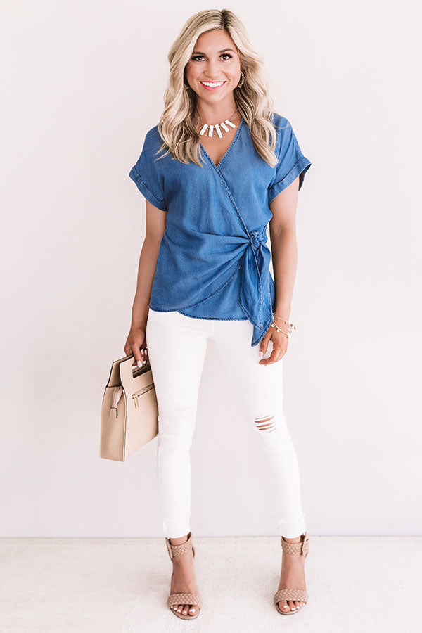 Front Page Worthy Chambray Wrap Top
