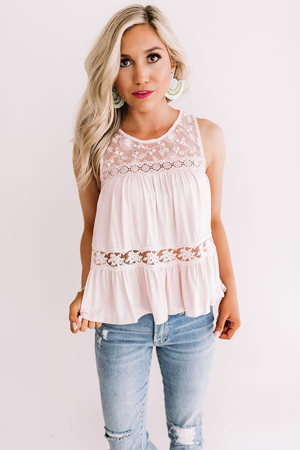 The Best Time Crochet Tank In Light Pink