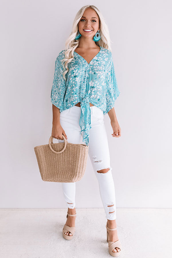Sangria Season Floral Tie Top In Aqua