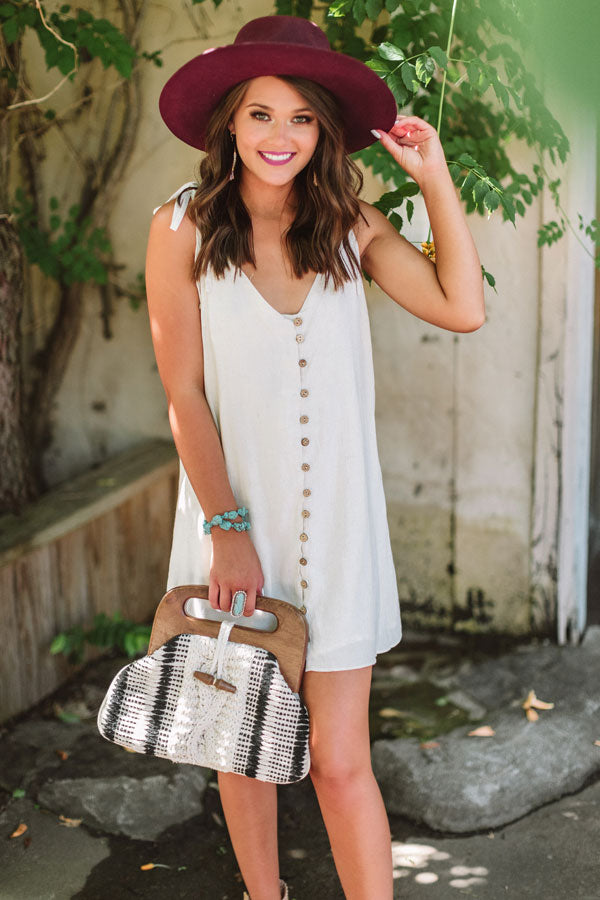 Friends In Fiji Button Down Tunic Tank In Stone
