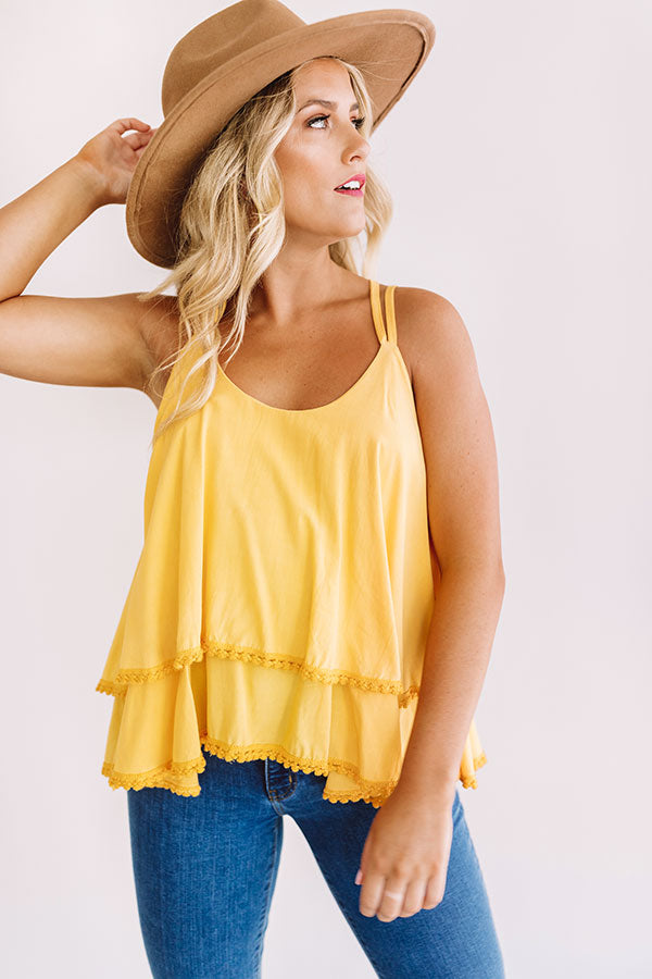 Sand Tropez Ruffle Tank In Golden Honey