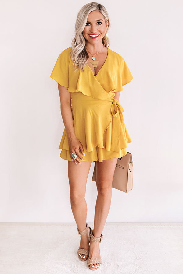 All The Goals Wrap Romper In Primrose Yellow